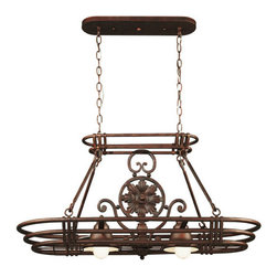 Kenroy Home - Kenroy Home 90304 Pot Rack from the Dorada Collection - *2 Light Pot RackCenter Medallion is RemovableIncludes 8 Hanging HooksIncludes (2) 10 foot wires and (2) 3 foot chains2 50w PAR20 Bulbs (Not Included)