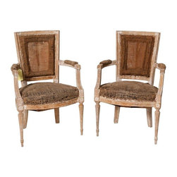Pre-owned 18th C. Very Crusty Directoire Chairs - A Pair - Admittedly, these are a bit of a project, as they absolutely need to be re-upholstered. But even in their dilapidated state, we knew they were Directoire gems. They date from the 1800s and you can be the one to pass down to future generations. If you aren't up for this kind of project, these chairs are still great statement pieces to tuck away into the corners of your living room or entryway for a carefully curated aesthetic.