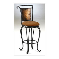 """Hillsdale Furniture - Copper Metal Finish Bar Stool / Counter Stool - Choose Height: 24 in. Counter StoolThis striking counter stool has a showpiece sleigh backrest made of hammered, blackened copper in a black tubular steel frame. The chocolate suede look seat cover makes it easy care. The legs have stylish curves and end in scrolled feet. * For residential use. This striking counter stool has a showpiece sleigh backrest made of hammered, blackened copper in a black tubular steel frame.. The chocolate suede look seat cover makes it easy care.. The legs have stylish curves and end in scrolled feet.. Copper Metal Finish. Fabric: Dark Beige w/ a hint of rust. Counter Height: 41.25"""" H x 20.5"""" W x 20.5"""" D (Seat Height: 26""""). Bar: 45.25"""" H x 20.5"""" W x 20.5"""" D (Seat Height: 30"""")"""