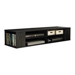South Shore - South Shore City Life Wall Mounted Media Console in Black Oak - South Shore - TV Stands - 4147675 - This City Life Wall Mounted Media Console in Black Oak finish will open up your living room space and give it a superb airy look. It features 4 open storage spaces including 2 adjustable shelves that can support up to 10 pounds and 2 lateral open spaces on each side for CDs DVDs and Video games. It will go perfectly under your wall-screen TV for a highly contemporary set-up! It includes a strong and tested metal hanging system to fix it on a wall (must be securely attached to a stud). Fastening device for hanging TV on wall not included. Comes with a hole for easy convenient wire management.  Manufactured from certified Environmentally Preferred laminated particle panels. Complete assembly required by 2 adults. Tools are not included.  5-Year limited warranty.
