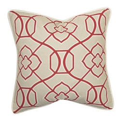 Homeware Decorative Accent Pillows - 20x20 Red Print Square Pillow