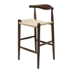 Kathy Kuo Home - Quinn American Ash Wood Modern Walnut Rattan Seat Bar Stool - Beautiful, rustic wood surrounds casual woven rattan in an eclectic bar stool. This stylish seat is the perfect shape and height for long, comfortable evenings at your bar. The detailed grain of the American ash makes each piece unique.