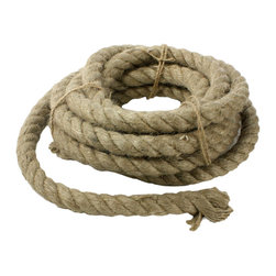 Bundle of Rope - Natural - Run the fibers of the Natural Bundle of Rope through your hands; enjoy the soft curve and the crafted weight of the thick, twisted cable.� This five-yard coil of cording for use in your home decor is ideal for creating a unique look in a rustic or nautical theme.� Lay it over a table to guide the line of a seaside centerpiece, or coil it on a shelf for a look of casual candidness � the uses are endless.