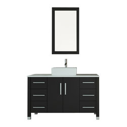 "JWH Imports - 47"" Grand Crater Vessel Sink Modern Bathroom Vanity Set Bundle - Good things come in…bundles. This stylish set has all the components you need to design a modern bath sanctuary — a matching vanity, wall-mounted closet and mirror. It features a sleek black and white design, ample storage and a cool vessel sink. This is one bundle you can't pass up."