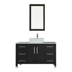 "47"" Grand Crater Vessel Sink Modern Bathroom Vanity Set Bundle"