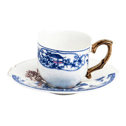 Seletti - Hybrid Eufemia Coffee Cup with Saucer - The Hybrid Eusafia design is an artistic representation of east meets west. Brighten up your morning coffee ritual with this elegant piece.