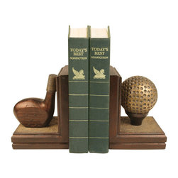Sterling Industries - Sterling Industries 87-2023 Sterling Pair Brunstfield Links Bookends - Bookends Make Long-Lasting Gifts, So What Better Way To Show The Golf Lover In Your Life That You Care. These Bookends From Sterling Are A Tribute To The Worlds Fourth Oldest Golf Society, Brunstfield Links In Edinburgh. One Bookend Features A Ball And The Other Features The Driver. This Pair Will Look Great In Any Home Office, Library, Den Or Family Room Keeping Books Neat And Organized. Bookends Are Painted Wood Finish And Tarnished Gold. Measures 10 Inches X 4 Inches X 6.5 Inches. Sold As A Pair.  Bookend (2)