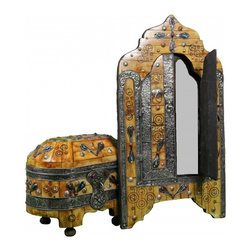 Moroccan Mirror & Chest - Hand-crafted Moroccan Mirror and Chest, matching set. This is the perfect example of craftsmanship consisting of engraved Berber metal and inlaid camel bone Designs with Berber amber.