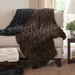 Madison Park - Madison Park Ruched Fur Throw - The Ruched Fur Throw features the softness of faux fur and reverses to an ultra soft solid lux microfur. The simple ruched pattern is the perfect sophisticated update. Face: 100% polyester, long fur, 220gsm Reverse: 100% polyester, solid lux micro fur, 180gsm Filling: 130gsm cotton