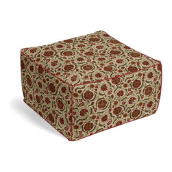 Red & Beige Suzani Custom Pouf - The Square Pouf is the hottest thing in decor since the sectional sofa. This bean bag meets Moroccan style ottoman does triple duty as a comfy extra seat, fashion-forward footstool, or part-time occasional table.  We love it in this eclectic swirling suzani in rust red & grass green on tan linen.