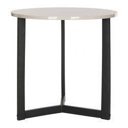 Safavieh - Ballard Lacquer End Table - Life is a balancing act, and the Ballard end table is no exception. The perfect yin and yang of black iron tripod base and wood top in a shiny grey lacquer finish, this table brings an open, airy look to the contemporary or transitional living room.