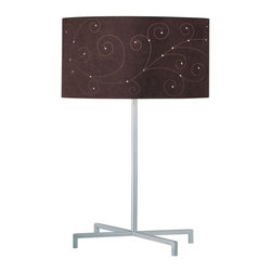Lite Source - Table Lamp, Silver/Coffee Laser Cut Suede Shade, Type A 100W - Table Lamp, Silver/Coffee Laser Cut Suede Shade, Type A 100W