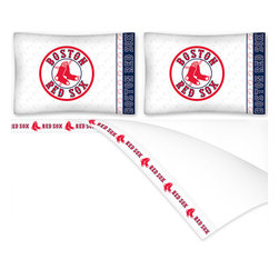 Sports Coverage - MLB Boston Red Sox Baseball Queen Bed Sheet Set - Features:
