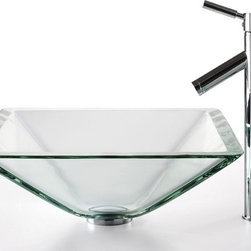 Kraus - Clear Aquamarine Glass Sink and Sheven Faucet (Chrome) - Finish: Chrome