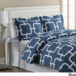 None - Oslo 3-Piece Duvet Cover Set - Oslo duvet cover sets feature a bold,modern link pattern. They are a great way to update your bedroom with an urban chic look. The cotton rich blend makes them easy care as well.