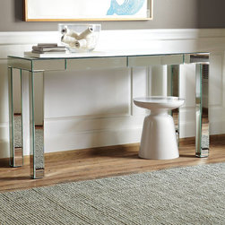 Parsons Mirror Console - I love this simple mirrored console table with the added benefit of two semi-hidden drawers in the front.