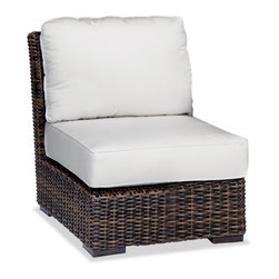 Thos. Baker - Outdoor Wicker Armless Sectional | Hampton Java Collection - Our most popular over-sized wicker collection is now available in a rich java color weave. Premium, dyed-through resin wicker with an extra large diameter profile and a rich variegated rustic finish. Powder-coated aluminum sub-frame and brushed aluminum feet.Plush Sunbrella cushion sets included where applicable. Choose quick ship in khaki with cocoa piping, stone green or choose from our made-to-order fabric options.Made-to-order cushion sales are final and ship in 2-3 weeks.
