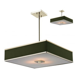 Joshua Marshal - Brushed Nickel 3 Light Pendant with Black Fabric Square Shade - Finish: Brushed Nickel