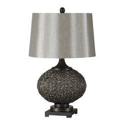 Ren-Wil - Magnolia 24-Inch Table Lamp - A maze of rich bronze resin sits a top a matching metal base and is finished with a lush trimless linen shade and matching oval finial.