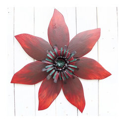 Souvenir Farm - Burgundy & Chocolate Brown Sunflower Wall Accent from Reclaimed Wood and Metal - This pretty red sunflower–shaped wreath is just the thing to brighten up your garden fence or cabin wall. Handmade from reclaimed barn wood and metal, this delightful accent is cheerful and charmingly rustic.
