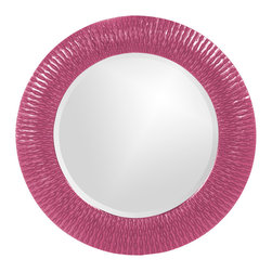 Howard Elliott - Howard Elliott 21143HP Bergman Hot Pink Small Round Mirror - This round, resin mirror is painted in a glossy hot pink giving the piece textured, starburst effect. Mirror (1)