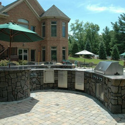 """Outdoor Kitchen Countertops - Outdoor kitchens can help with crowd control. If you have too many hands trying to help, it's a great second prep area. Note: Because it is an """"outdoor"""" kitchen, for ease in cleaning and maintenance, and the ability to sanitize, consider barbecue/refrigerator, etc. materials such as quality stainless steel."""