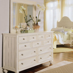 American Drew Camden-Light Chest w/ Round Mirror Mirror in White Painted
