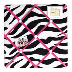 Sweet Jojo Designs - Pink Zebra Fabric Memo Board - The Pink Zebra Fabric Memo Board with button detail is a great way to display photos, notes, and postcards on your child's wall. Just slip your mementos behind the grosgrain ribbon to create an engaging piece of original wall art. This adorable memo board by Sweet Jojo Designs is the perfect accessory for the matching children's bedding set.