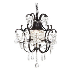 The Gallery - Wrought Iron Crystal chandelier - 100% crystalrought Iron chandelier. A great European tradition. Nothing is quite as elegant as the fine crystal chandeliers that gave sparkle to brilliant evenings at palaces and manor houses across Europe. This beautiful chandelier from the Versailles Collection has 1 light and is decorated and draped with 100% crystal that captures and reflects the light of the candle bulb. The frame is Wrought Iron, adding the finishing touch to a wonderful fixture. The timeless elegance of this chandelier is sure to lend a special atmosphere anywhere its placed! Please note this item requires assembly.