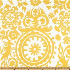 upholstery fabric Suzani Slub Yellow/White