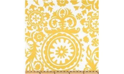 Upholstery Fabric Suzani Slub Yellow/White