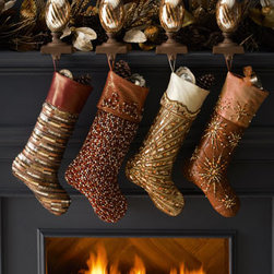 Kim Seybert - Kim Seybert Chocolate/Gold Spectrum Christmas Stocking - Exclusively ours. Lavishly adorned for the most elegant of celebrations, these Christmas stockings are gifts themselves, sure to be a cherished part of your tradition for years. We like to use them on the backs of chairs at the dining table as well as...