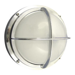 Shiplights - Chrome Bulkhead Light with Cross Bar by Shiplights - Our bulkhead light with cage is made of solid brass and can be used indoors or outdoors.