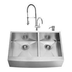 """VIGO Industries - VIGO All in One 36-inch Farmhouse Stainless Steel Double Bowl Kitchen Sink and C - Revitalize the look of your kitchen with a VIGO All in One Kitchen Set featuring a 36"""" Farmhouse -  Apron Front sink, faucet, soap dispenser, two matching bottom grids and two strainers."""