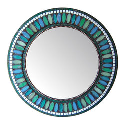 Other Mosaic Mirrors - Custom round glass mosaic mirror in a teal, sea green, light green, and white color scheme.  Materials used include iridescent glass mosaic tile and copper beads.  Custom sizes and color schemes available; pricing varies upon size.