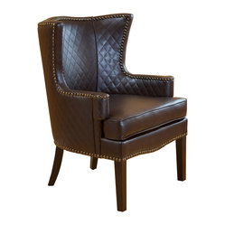 Great Deal Furniture - Kings European Vintage Royal Design Brown Leather Club Chair - Brown bonded leather with quilting in the back and front back of the chair. This is a very stylish accent chair with brass studs outlining as shown in the picture. This is a very curvy chair. (European style).