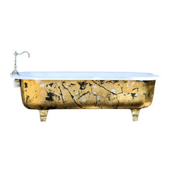 Consigned 4.5 ft Refinished Aged Metallic Gold Leafed Cast Iron Claw Foot Tub - Antique 4.5 ft Refinished Aged Metallic Gold Leafed Flat Rimmed Cast Iron Clawfoot Tub