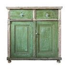 Antique European Cabinet - Antique European wooden cabinet painted a bright grass green with white trimmings and top. Incredible, natural patina to the tone of the paint.  Featuring white ceramic drawer pulls and round ball feet. Double drawers at top and double doors below that open wide to an interior with a single shelf. One of the doors latches closed. There are remnants of an old locking system.
