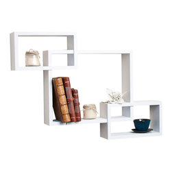 "Danya B. - Intersecting Wall Shelf, White - Intersecting� Wall Shelf. Provides three storage cubbies plus level display space on top.��With its contemporary walnut, black or classic white finish, they are the ideal accent for any living space.�� Easy to install with no visible connectors or hanging hardware. All hardware included.� Overall measures: 26.5 x18.75 x4""."