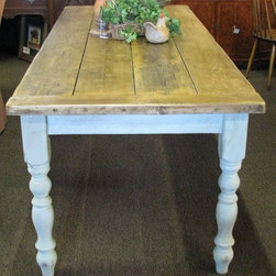 "French Country Dining Room Farm Table - This is a fabulous french country style farm table with a primitive top and painted base. The table measures 85"" long x 34.5"" deep x 30.5"" high."