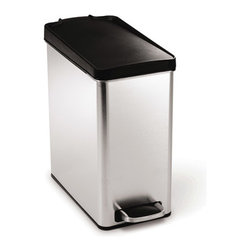 simplehuman - simplehuman 2.6-gal Brushed Stainless Steel Pedal Trash Can - This step trashcan features a convenient step pedal and durable plastic lid. A slim profile shape makes this trashcan a great fit under a desk or in a bathroom.