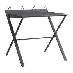 Adarn Inc. - Simple Black X-metal Base Built In Book Dividers Computer Desk - Black finish with an X-metal base, book dividers offer simple organization to this table desk. A place to work with a laptop or pen and paper, this casual contemporary desk provides a setting all your own.