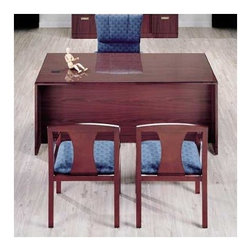"""High Point Furniture - Vitality 72"""" W 3/4 Double Pedestal Executive Desk with Drawers - Vitality presents solutions for all areas and levels of an organization. The furniture is constructed for high quality and long-term durability. Tops are high gloss, high-pressure laminate for executive level perception and front-line performance. Solid wood edges are shaped and finished for a handcrafted appearance, while a sturdy case-in-shell construction creates rigidity for high quality and long-term durability. Features: -Two box drawers.-Two file drawer, letter or legal filing.-3/4'' thick drawer fronts core, surfaced on both sides with laminate.-Two wire management grommets.-Individual locking pedestals.-Installed center drawer available.-Reversed coped edges for smooth work surface connection.-Tops are 1-3/16'' thick, properly backed and surfaced in a high-gloss high pressure laminate.-Drawer fronts have a 0.75'' particleboard core with hardwood edge surfaced in cherry or maple veneer.-Distressed: No.-Collection: Vitality.Dimensions: -Overall dimensions: 29'' H x 72'' W x 36'' D.-Drawer sides are 1/2'' hardwood veneer.-Drawer bottoms are 1/8'' hardboard grain printed.-Overall Product Weight: 298 lbs.."""