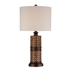 Ambience - Ambience 13043-0 1 Light Ivory Linen Table Lamp - Features:
