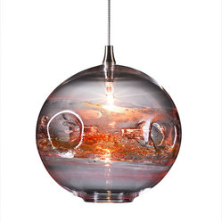 Fishbowl Glass Pendant Light, Red Multi