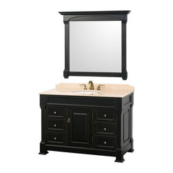 Wyndham Collection - 48 in. Single Bathroom Vanity - Includes matching mirror, natural stone counter and backsplash with porcelain sinks. Faucet not included. Beautiful transitional styling. White under mount sink. Ivory marble top. Floor-standing linen tower. Hand carved and stained cabinet. Mirror glass thickness: 1 in.. 8 in. widespread three hole faucet mount. Plenty of storage space. Engineered to prevent warping and last a lifetime. Highly water-resistant low V.O.C. finish. Twelve stage wood preparation, sanding, painting and hand-finishing process. Fully extending side-mount drawer slides. Concealed door hinges. One door and six deep doweled drawers. Metal hardware with antique bronze finish. Warranty: Two years. Made from environmentally friendly, zero emissions solid oak hardwood. Antique black finish. Vanity: 48 in. W x 23 in. D x 35 in. H. Mirror: 44 in. L x 41 in. H (47 lbs.). Cabinet weight: 177 lbs.. Counter weight: 82 lbs.. Sink weight: 13 lbs.. Care InstructionsA new edition to the Wyndham Collection, the beautiful Andover bathroom series represents an updated take on traditional styling. The Andover is a keystone piece, with strong, classic lines and an attention to detail.