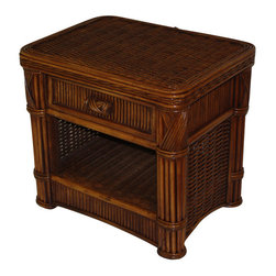 Wicker Paradise - Rattan 1 Drawer Nightstand - Barbados - Nightstand features thick heavy rattan woven on a wood frame with rattan trim. Drawer is on a roller system and table has bottom shelf for additional storage.