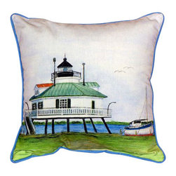 Betsy Drake - Betsy Drake Hooper Straight Lighthouse Pillow- Indoor/Outdoor - Hooper Straight Lighthouse Pillow- Large indoor/outdoor pillow. These versatile pillows are equal at enhancing your homes seaside decor and adding coastal charm to an outdoor setting arrangment. They feature printed outdoor, fade resistant fabric for years of wear and enjoyment. Solid back, polyfill. Proudly made in the USA.