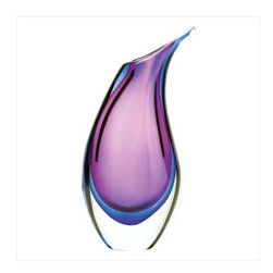 n/a - Duo Tone Modern Vase - Resplendent in hues of violet and indigo, this magnificent glass piece with flowing patterns of color stands alone as a perfect sculpture!  Glass.  May require additional freight charge.