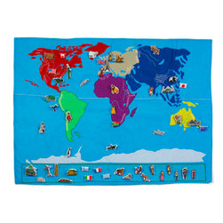 "World Map by Oskar&Ellen - Very educational, colorful and decorative map with 50 embroidered details; the biggest lakes, mountain ranges, mountain tops, longest rivers in each continent. This information is all marked in a ""key"" that comes with the map so it is easy to learn."